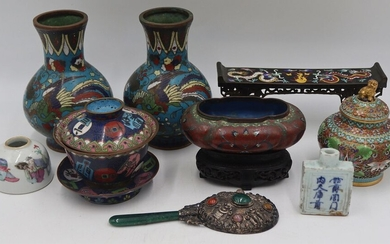 Group of (9) Chinese Cloisonne and Porcelain Items