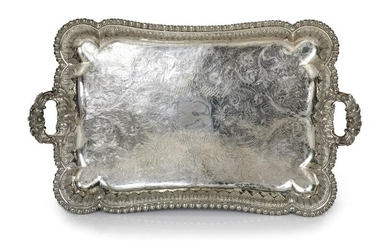 LARGE 19TH C ODIOT PARIS SILVER TEA TRAY, 5,200g