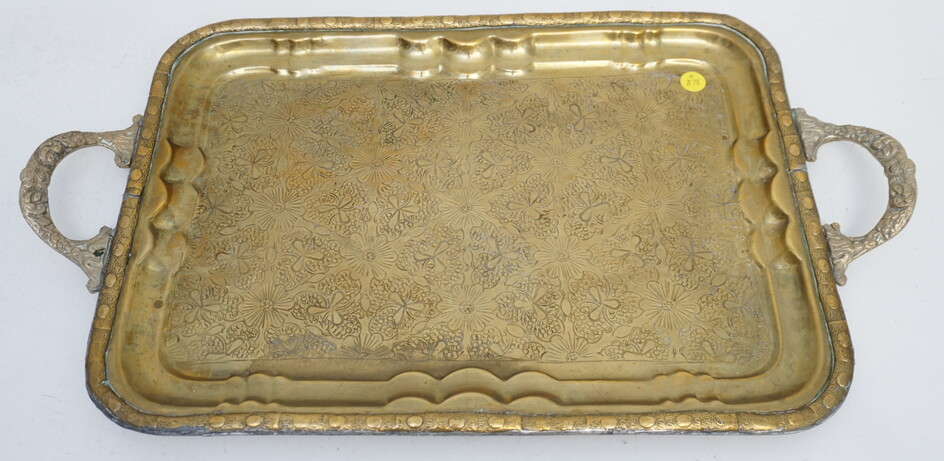 LARGE BRASS SERVING TRAY