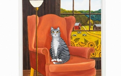 LINDA ANDERSON, CAT ON CHAIR, OIL ON CANVAS 1986