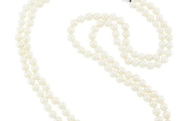 Long Double Strand Cultured Pearl Necklace with White