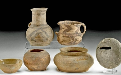 Lot of 6 w/ Neolithic & Ancient Chinese Pottery Vessels