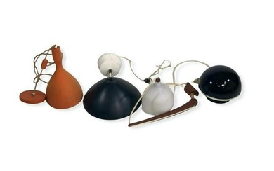 Lot of Four Mid-Century Modern Pendant Lamps
