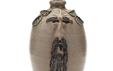 NC Folk Pottery, Billy Ray Hussey Worried Face JUg