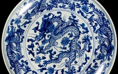 FREE POST Chinese Swirling Dragon Charger - Porcelain