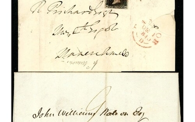 PLATE 1b - ME - ON COVER PLUS PRE-STAMP COVER BOTH WITH GWIN...