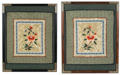 Pair Asian Silk Embroidery Floral Panels