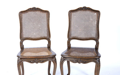 Pair of French style stained beech side chairs