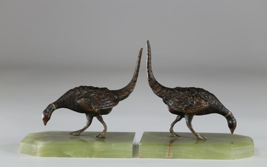 Pair of Vienna bronze bookends with pheasant decoration
