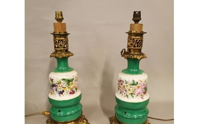 Pair of good quality 19th C. ceramic and brass table lamps w...