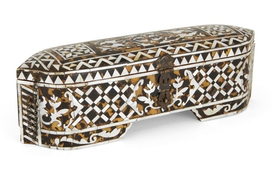 Property from an Important Private Collection An Ottoman tortoiseshell and mother-of-pearl inlaid scribe's box, Turkey, 19th century, of rectangular form on shallow bracketed feet with hinged cover, foliate lock plate and chain, the exterior inlaid...