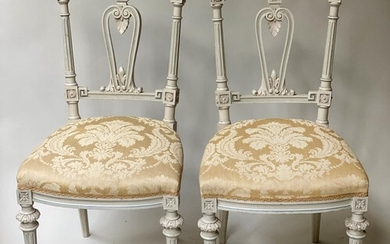 SALON SIDE CHAIRS, a pair, French Louis XVI style grey paint...