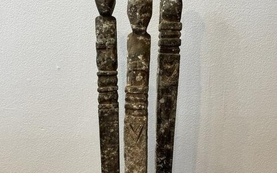 Set Carved Wood Tribal Statues