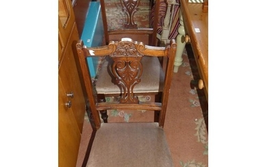 Set of Four Late Victorian Carved Mahogany Dining Chairs.