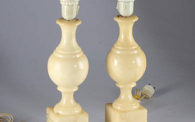 TABLE LAMPS, 1 pair, artificial mass in marble imitation, 19 / 2000s.