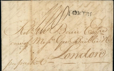 """Virgin Islands 1798 (23 Mar.) entire letter from St. Thomas to London, """"per packet"""", rated """"1/..."""