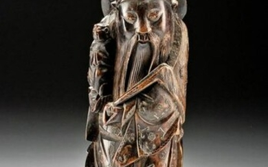 18th C. Chinese Wood Figure Inlaid Brass Detailing
