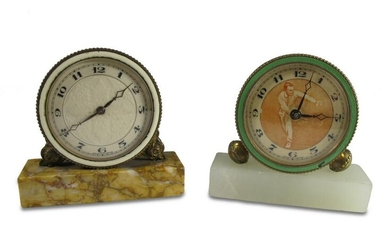 2 Antique Swiss small clocks with a marble base
