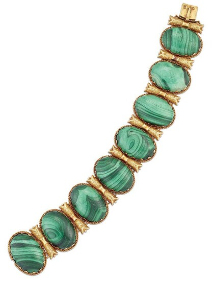 A 19th century Russian gold and malachite bracelet, composed of a series of oval cabochon malachite panels with gold textured bow shaped connecting links, c. 1870, Russian mark for St Petersburg and 56 standard mark, length 17cm