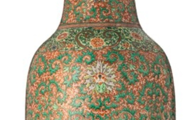 A Chinese iron-red and famille verte vase, 19thC,...