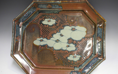 A David Frith studio pottery octagonal footed dish, the mottled blue and red/brown ground decorated