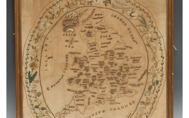A George IV needlework map sampler, worked by Mary Pearson, ...