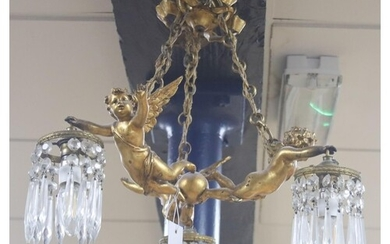 A Louis XV style gilt metal three light ceiling chandelier, ...