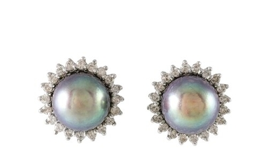 A PAIR OF CULTURED PEARL BLACK EARRINGS, with diamond surrou...