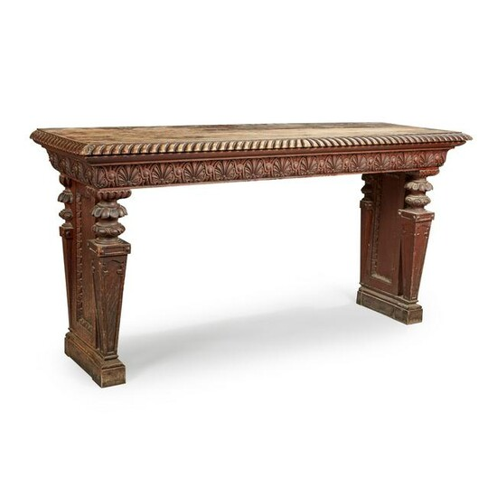 A PAIR OF RENAISSANCE REVIVAL CARVED OAK HALL TABLES