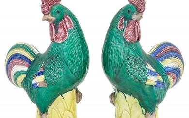A Pair of Chinese Export Porcelain Cockerels