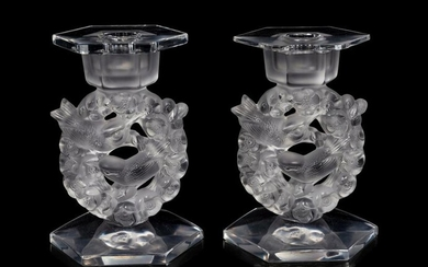 A Pair of Lalique Mesanges Candlesticks with Drip