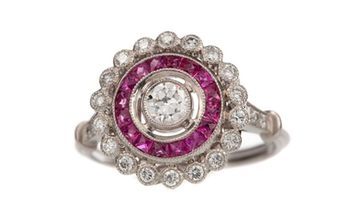 A RUBY AND DIAMOND TARGET RING