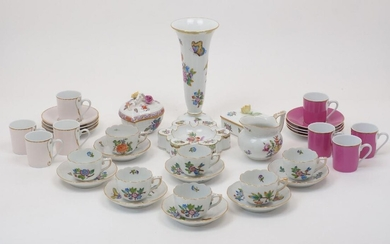 A group of Herend porcelain, 20th Century, to include six Queen Victoria VA pattern coffee cans with six saucers, each with ozier border to gilt rim, the cans 6.8cm diameter, with a similarly designed Small Bunch of Roses PBR pattern coffee can and...