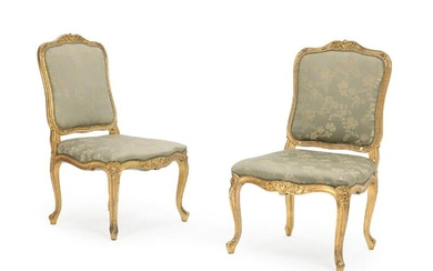 NOT SOLD. A pair of 19th-20th century Rococo style giltwood chairs, upholstered in greenish furniture fabric. (2) – Bruun Rasmussen Auctioneers of Fine Art