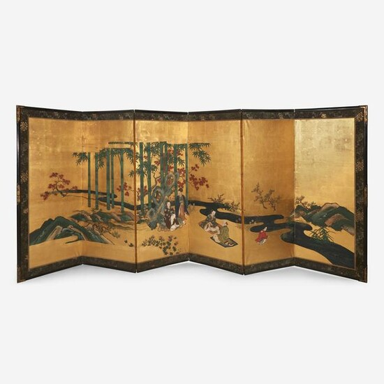 A pair of Japanese six-panel screens