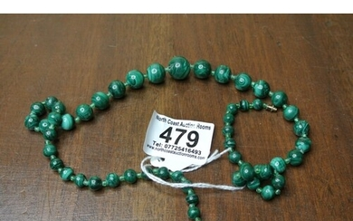 A stunning antique Chinese green jade beaded necklace.