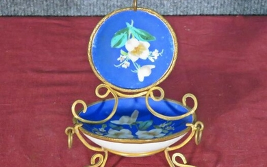 ANTIQUE FRENCH HAND PAINTED PORCELAIN WATCH HOLDER