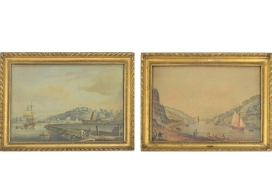 After Nicholas Pocock (1741-1821) - a river scene with figur...