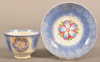 Blue Spatter China Dahlia Pattern Cup and Saucer.
