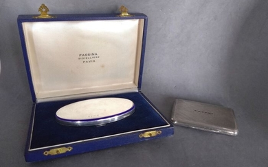Blue enamel box and compact vanity case with 6 synthetic rubies (2) - .925 silver - Europe - Mid 20th century