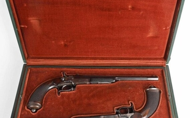 CASED PAIR FRENCH WAX BULLET DUELING PISTOLS