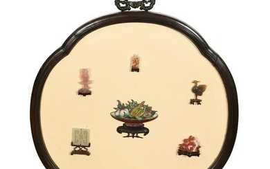 Chinese Lacquer Panel with Precious Stones, 18-19th