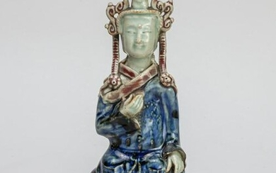 Chinese Porcelain Buddha w/ Marble Stand
