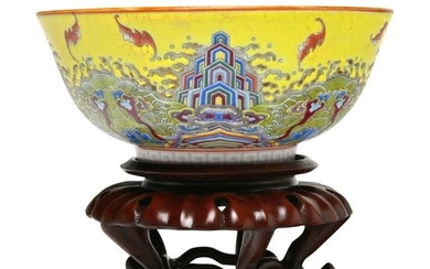 Chinese Yellow Ground Famille Rose Enamelled Bowl