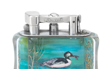 DUNHILL: a rare electroplated and lucite 'Aviary' table lighter