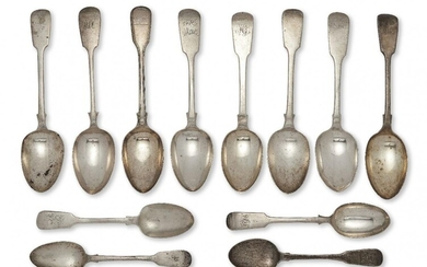 Eight Victorian and later silver fiddle pattern tablespoons, together with four fiddle pattern dessert spoons, the tablespoons including four Exeter, two John Osment, c.1837 and 1842, one Thomas Hart Stone, c.1868 and one c.1837, John Langdon, all...