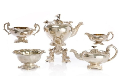 FIVE PC ODIOT PARIS SILVER TEA SERVICE, 4,548g