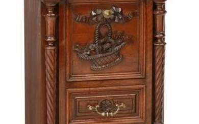 FRENCH MARBLE-TOP WALNUT BEDSIDE CABINET