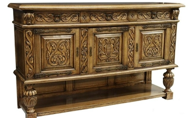 FRENCH RENAISSANCE STYLE CARVED OAK SIDEBOARD