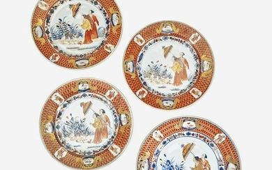 Four Chinese Imari Plates in the 'Dames au